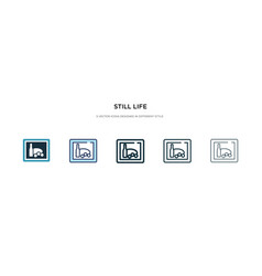 Still life icon in different style two colored vector