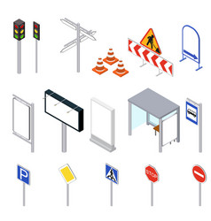 street objects set isometric view vector image