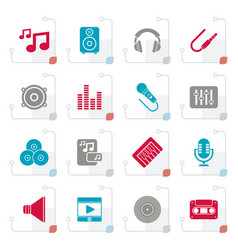stylized music sound and audio icons vector image