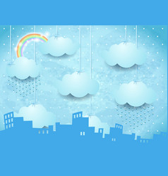 Surreal landscape with skyline and rain vector