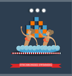 Synchronized swimming concept vector