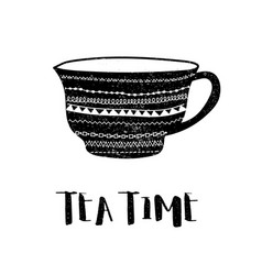 tea time bw vector image
