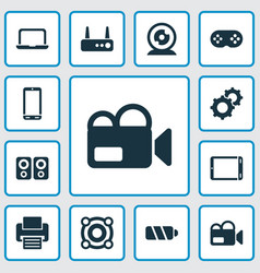 technology icons set with battery loudspeaker vector image