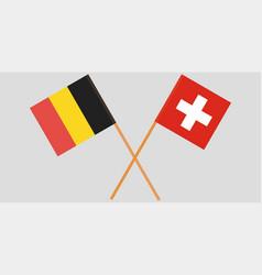 The crossed belgium and switzerland flags vector