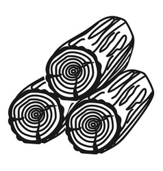 Three logs icon simple style vector