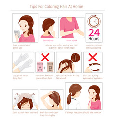 Tips and precautions before use hair dye vector