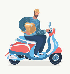 transport man courier is riding motorbike vector image