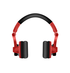 Trendy youth wireless red headphones vector