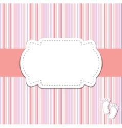 Vintage baby girl arrival announcement card vector image