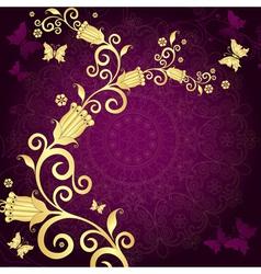 Vintage gold-violet frame vector image vector image