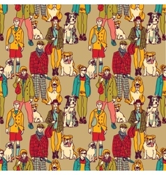 Walking people and dogs color seamless pattern vector