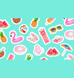 watercolor pattern with cute summer vacation vector image