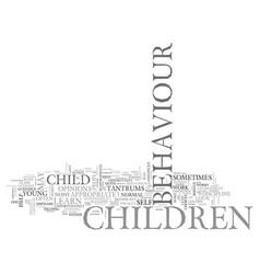 What is difficult child behaviour text word cloud vector