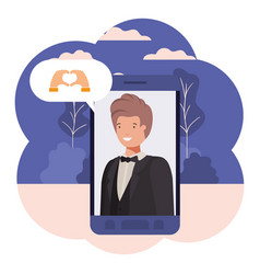 young businessman in smartphone with speech bubble vector image