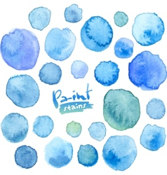 Big set of blue watercolor stains vector image