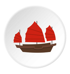 Chinese boat with red sails icon circle vector