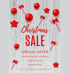 Christmas discount banner template vector image vector image