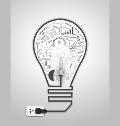 Creative light bulb with drawing charts and graphs vector image