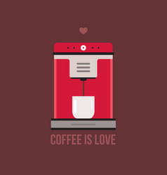 coffee machine on brown background vector image