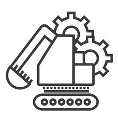 excavator line icon sign on vector image