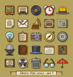 retro flat line icons - set 1 vector image