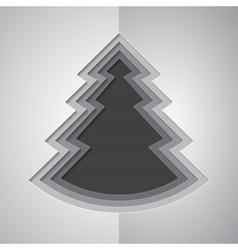 Grey paper cutout christmas tree vector