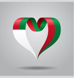 madagascar flag heart-shaped ribbon vector image vector image