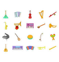 musical instrument icon set cartoon style vector image