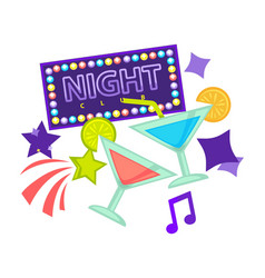 night party or dance club icons of vector image vector image