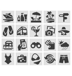 vacation set black icons signs and symbols vector image vector image