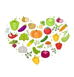 Vegetables icon set in heart shape Flat style vector image vector image