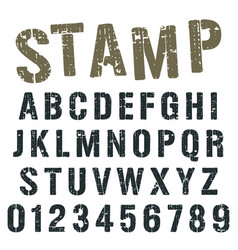 alphabet font stamp army design vector image