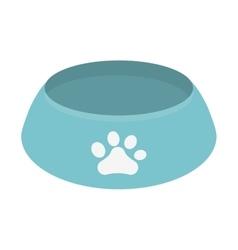 blue bowl food dog paw print vector image
