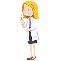 Doctor with medicine in injection tube vector image vector image