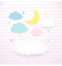 Kids background with moon clouds and stars vector image vector image