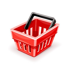 red empty shopping basket icon vector image