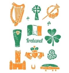 Symbol of Ireland set in lino style vector image