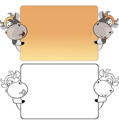 A visiting card with cows cartoon vector