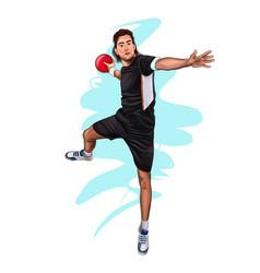 Abstract handball player jumping with ball vector