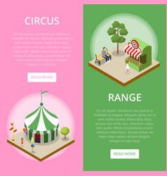 amusement park isometric vertical flyers vector image