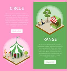 Amusement park isometric vertical flyers vector