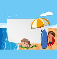 background scene with children on beach vector image