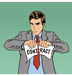 Breach of Contract Serious Businessman Pop Art vector image vector image