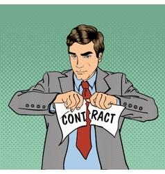 Breach of Contract Serious Businessman Pop Art vector image