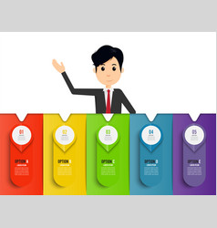 Businessman template infographic five otions vector