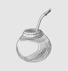 Calabash for yerba mate drink mate tea engraving vector
