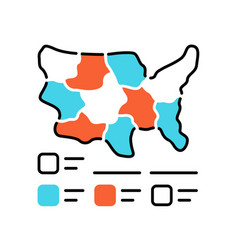Cartogram color icon diagram usa map vector