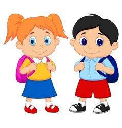 Cartoon boy and girl with backpacks vector