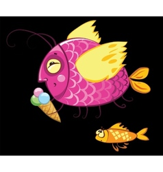 cartoon fishes characters icecream gourmand vector image