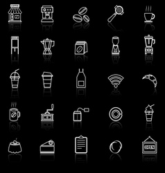 Coffee shop line icons with reflect on black vector image